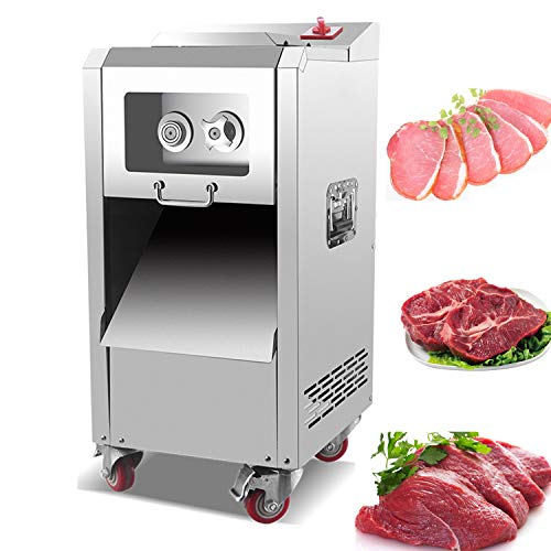 NEWTRY 3.5mm Commercial 2200W/880lb/h Meat Cutter Cutting Machine Meat Vegetable Slicer Shredder Strip Cutting Machine Stainless Steel for Restaurant (with a 3.5mm blade(recommend))