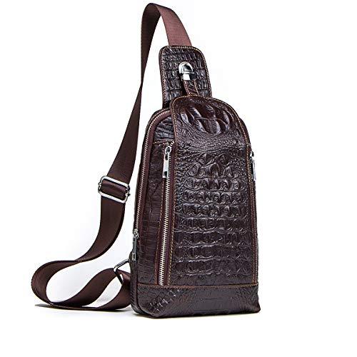 Contacts Vintage Genuine Leather Mens Alligator Daypack Crossbody Travel Shoulder Bag Coffee, Dark Brown, one size