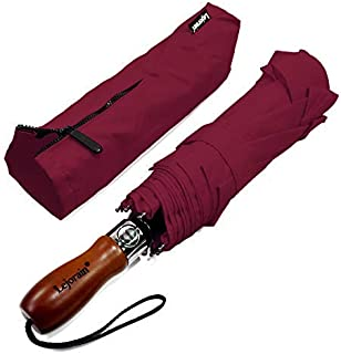Lejorain 54inch Large Umbrella Auto Open Close Folding Golf Size and 210T Dupont Teflon Coated Vented Windproof Double Canopy-Unisex&Blue/Black/Yellow/Pink/Wine Red