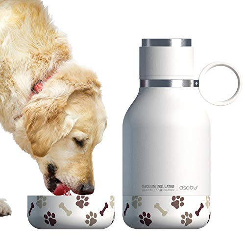 Asobu Dog Bowl Attached to Stainless Steel Insulated Travel Pet Bottle 1 Liter (White)