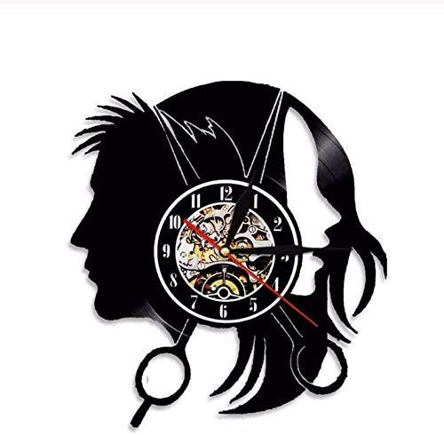 ZZLLL Reloj de Pared de Vinilo Reloj de Pared de Disco de Vinilo decoración del hogar música líder Corte de Peluquero lámpara de Pared Regalo Retro Hombre Mujer Anime de Dibujos Animados
