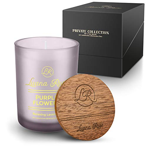Luana Rose Duftkerze Geschenkset - 100% Soja Wachs Kerze für Aromatherapie - Lange Brenndauer 50Std - Geschenk Kerze Holzdeckel - Kerzen im Glas… (Relaxing Lavender)