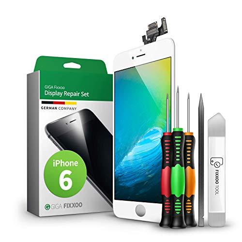 GIGA Fixxoo Display-Set für iPhone 6 | Weiss | vormontiertes Reparatur-Set komplett mit Frontkamera & Werkzeug-Kit, Ersatz Bildschirm | Retina LCD Glas mit Touchscreen