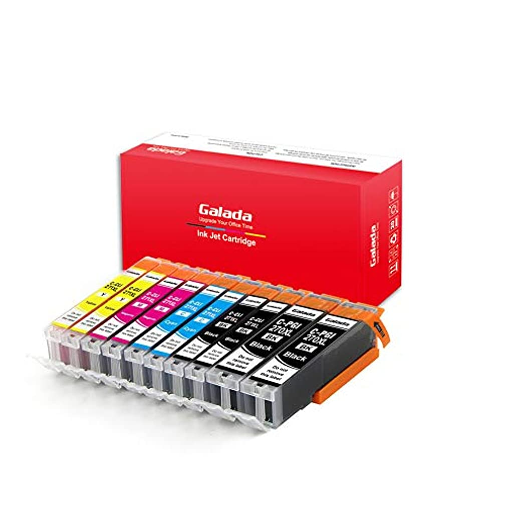 Galada 10 Pack Pgi-270xl Cli-271xl Ink Cartridges with 10 Sheets Photo Paper Replacement for Canon PGI 270 XL CLI 271 XL to use with Pixma Mg5720 Mg5722 Mg6820 Mg6821 Mg7720 Ts6020 Ts9020 Printer