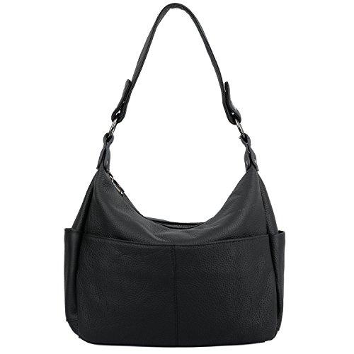 YALUXE Women's Double Zipper Cowhide Leather Style Shoulder Bag Black 2.5