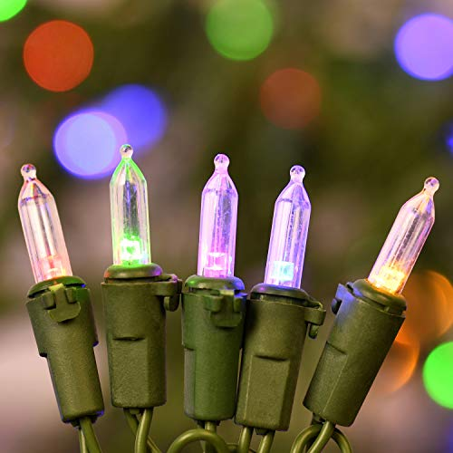 133 Feet 200 LED Color Changing Christmas String Lights, 8' Spacing Grass Green Wire Tree Light Set, Adapter with Functions Controller Warm White/Multicolor & Multiple Flashing Mode (200 Lights)