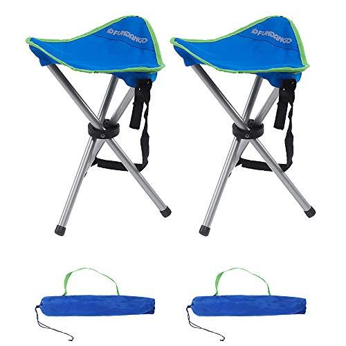 FUNDANGO アウトドアチェア 釣り 三脚椅子 折りたたみ椅子 2個セット 超軽量 三角形 ポータブル 三脚スツー...