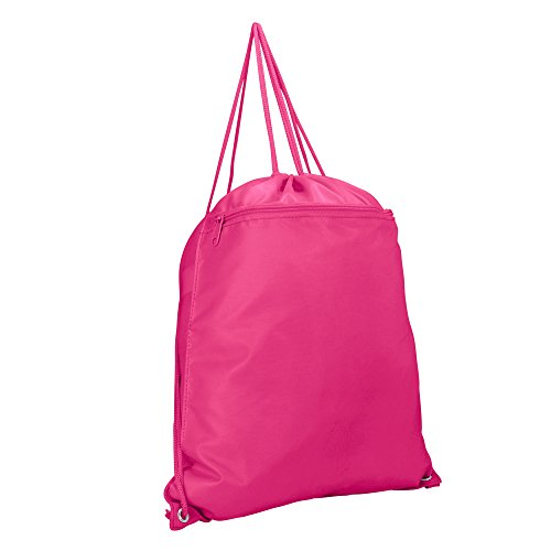 DALIX Drawstring Backpack Sack Bag in Hot Pink
