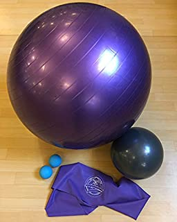 Pilates On Fifth Golden Exercise Bundle - Stability Ball, Small & Massage Balls and Long Stretch Band for Pilates, Yoga and Stretch Workouts