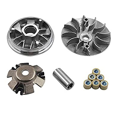 Complete Variator Kits for Gy6 125cc/150cc 152QMI/157QMJ Engine, Drive Wheel Assy Performance 14 Gram Rollers CVT Front Clutch for Scooter Atv and Gokart (GY6 125/150)