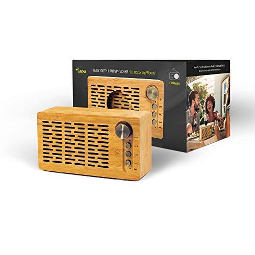 Outdoor Bluetooth Speaker DJ Roxxx Big Woody | Altoparlante Wireless Portatile | con Funzione NFC, Lettore schede MicroSD/TF per File Mp3, Radio FM e Funzione Vivavoce | in Vero Legno Bamboo