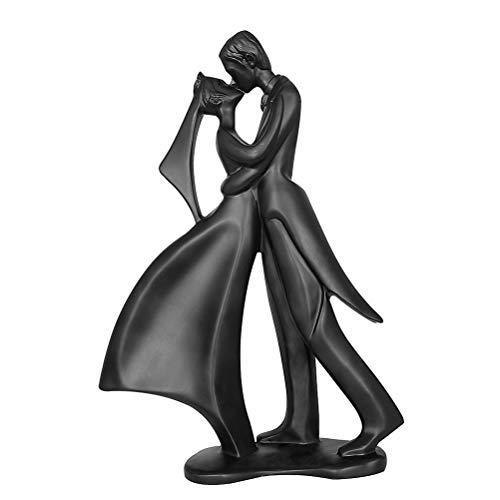 Aoneky Figura Decorativa de Pareja - Estatua Moderna de Resina, Escultura Romántica de Pareja Besando, Regalo de San Valentín Aniversario Cumpleaños Navidad, Decoración de Hogar Casa Interior, Negro