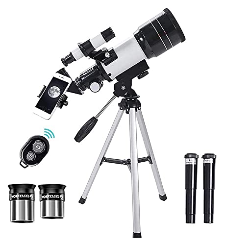 FHISD Bluetooth Earphone Telescope for Astronomy, HD 300/70mm Magnification Travel Scope with Adjustable Tripod, 300mm Refractor Telescope for Kids Beginners Adults Science Edu
