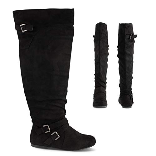 Twisted Shelly Women's Knee High Slouch Flat Wide Calf Boots, Micro Suede & Leather Shoes, Black Suede, 11
