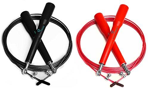 2 corde fitness »Rapido« / Corda per saltare ad alta velocità / Snodo sferico a 360° con corda regolabile