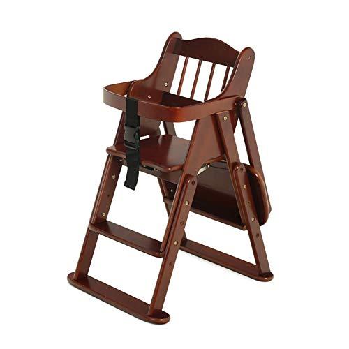 WWW-DENG barkruk kinderstoelen baby-eettafel stoelen opvouwbaar en verstelbaar multifunctionele massief houten eettafel (kleur: bruin Maat: groot) barkruk