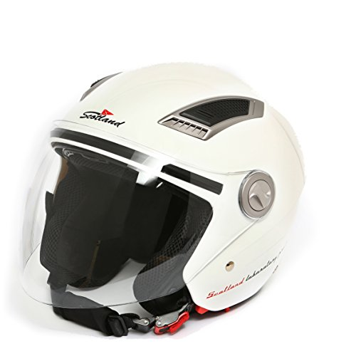 Scotland–120009Casco Jet de moto con doble visera, color blanc