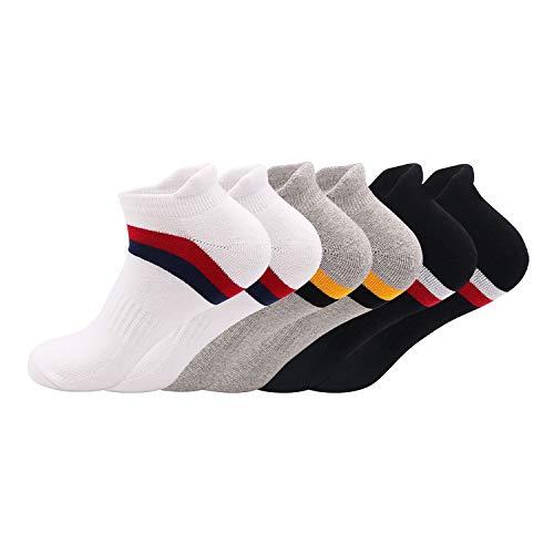 Running Ankle Socks | Premium Pack of 6 | Perfect Cushion Sports Socks Compression Socks Trainer Socks for Men Women Ladies | Low Cut Breathable Athletic Socks (Black/Light Grey/White, Large (9-12)
