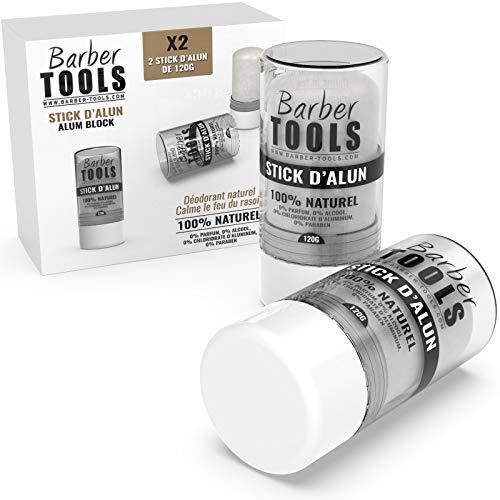 Paquete de 2 barras desodorantes de 120gr - Piedra de alumbre - 100% natural - Sin paraben ni clorhidrato de aluminio/Eficaz contra los cortes de afeitado - BARBER TOOLS -