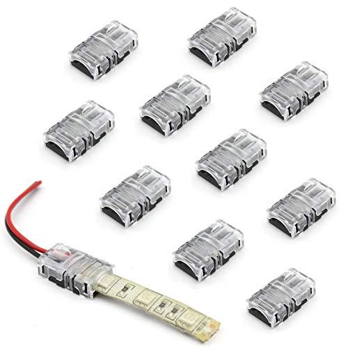 Vipmoon - Connettore a striscia con 10 pezzi di LED, striscia a filo rapido senza filo, 2 pin 8mm Single Color 2835 3528