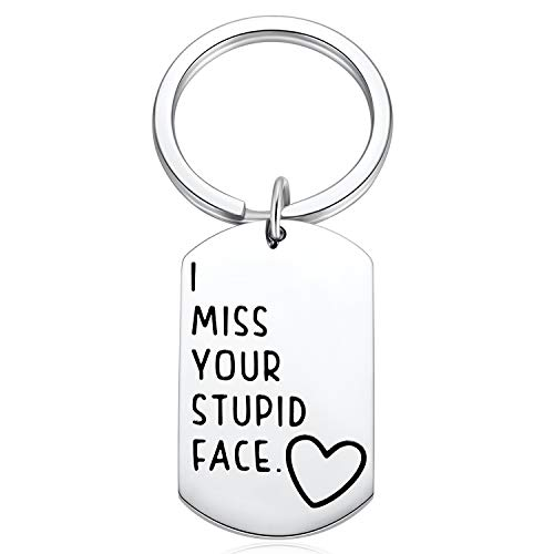 Long Distance Relationships Gifts - I Miss Your Stupid Face Keychain for Girlfriend, Boyfriend, Gift for Her Him