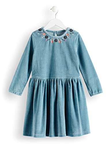 Amazon-Marke: RED WAGON Mädchen Samt-Kleid mit Stickerei, Blau (Eggshell Blue), 104, Label:4 Years