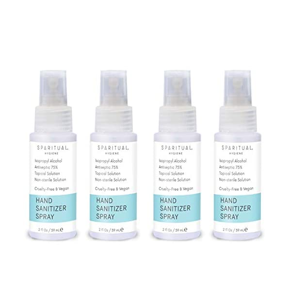 SPARITUAL Hand Sanitizer Spray 2oz Travel Size | 4-pack Bundle Alcohol Based Hand Sanitizers