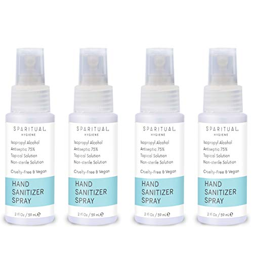 SPARITUAL Hand Sanitizer Spray 2oz | 4-Pack Bundle Alcohol Based Hand...