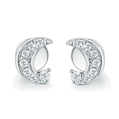 Daesar Pendientes Mujer Oro Blanco 18K,Luna Diamante 0.12ct,Plata