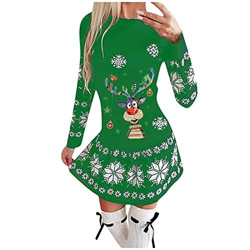 NISOWE Disfraz de Navidad para mujer de otoo e invierno, manga larga, ajustado, informal, sexy, vestido, verde, M-36/38/40