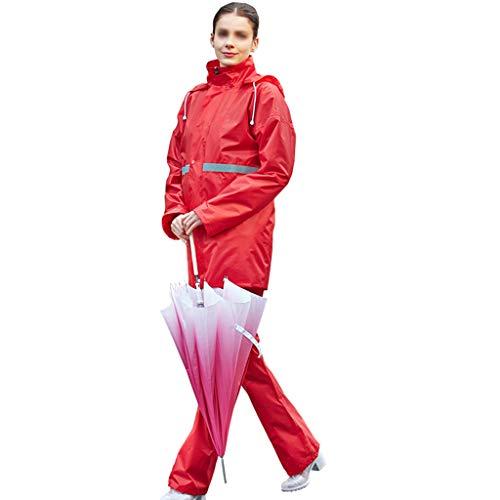 LXLTLB Unisex Regenanzug mit Hideaway Hood Wasserdicht Winddicht Regenjacke + Regenhose Regenbekleidung Set,D,M
