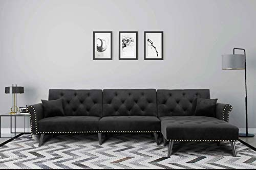 Best Upholstered Mid Century Sectional Sofa Futon Couch with Reversible Chaise with Adjustable Back Sofa