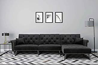 Upholstered Mid Century Sectional Sofa Futon Couch with Reversible Chaise with Adjustable Back Sofa Bed (Black)