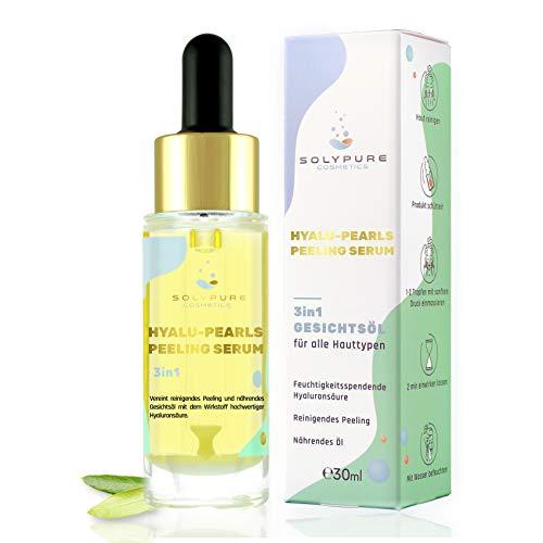 SolyPure Cosmetics® Hyaluron Serum – Patentierte 3in1 Gesichts-Pflege 30ml – Peeling + Hyaluronsäure bis zu 10x mehr dank Hyalu-Pearls – Anti-Aging – Argan-Öl...