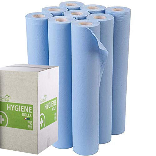 Premium Quality 2-Ply Hygiene Roll 20 Inch Blue Couch Roll for Chiropractor, Osteopath, Massage or Salon Tables/Chairs 9 Rolls of 40m (Free Gift Included)