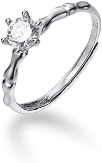 Cubic Zirconia Solitaire Engagement Open Ring Sterling Silver 925 for Women Girls Dainty Crystal Eternity Bridal Wedding R...