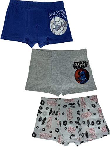 Star Wars - Jungen Boxershorts - 3er Pack, Blau, Weiß & Grau - Öko Tex, Größe:110/116