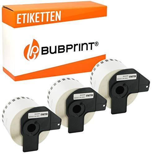 3x Bubprint Etiketten kompatibel für Brother DK-22205 für P-Touch QL500 QL500BW QL550 QL560 QL570 QL700 QL710 QL710W QL720NW QL800 QL810W QL820 QL820NWB QL820NW QL1060N QL1100