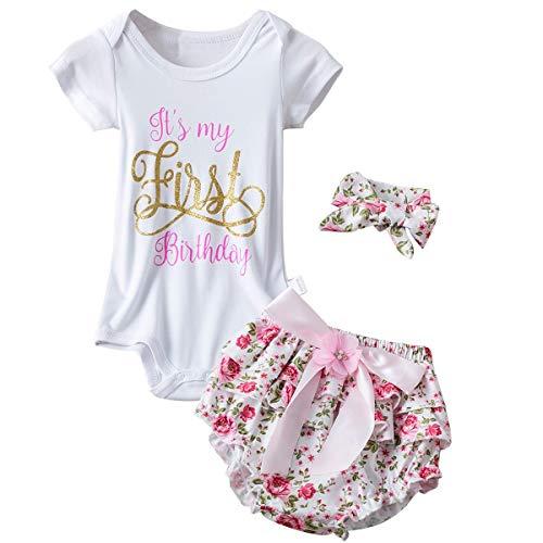 NNJXD Vestido de bebé niña Mi Primer cumpleaños 3 Piezas Trajes Mameluco Talla 1 años Rosa