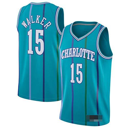 XPQY Camiseta De Kemba Walker, Charlotte Hornets # 15 Uniforme De Baloncesto Camiseta De Malla Bordada De Poliéster para Hombre Camiseta Clásica Retro Sin Mangas De Balon Blue A-XXL