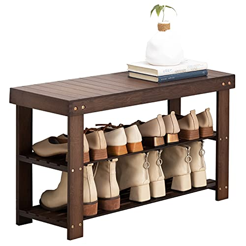 玄関ベンチ シューズラック ZHZJ 収納ベンチ 玄関椅子 玄関収納用ベンチ 収納スツール 竹製玄関ベンチ 靴収納 靴入れ 靴箱 幅66×奥行25×高さ44cm 8足収納可能 省スペース おしゃれ SHXJ0014-KF