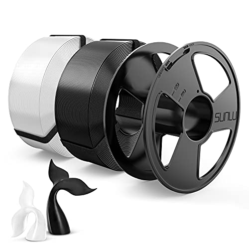 3D Printer Filament, PETG 1.75mm Master Spool, SUNLU PETG 3D Filament, Dimensional Accuracy +/- 0.02 mm,Nero + Bianco, 2KG