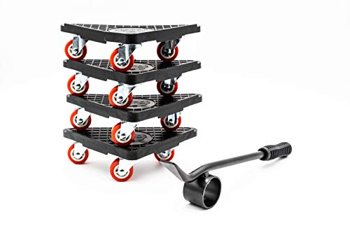 RK RAKAO Luxus Möbelroller - Möbelheber Stabile Transporthilfe - verstärkte Rollen für Möbel - Belastbarkeit 150kg FÜR ALLE 4 Transportroller - Umzugshilfe Waschmaschine - sichere Möbel Roller