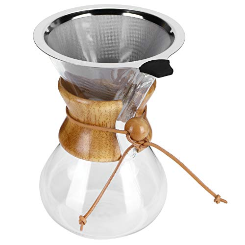 Ekspres do kawy w zalewie, odporny na wysoką temperaturę szklany ekspres do kawy ze stałym filtrem ze stali nierdzewnej, drewniany uchwyt przeciw oparzeniom Dzbanek do parzenia kawy(800ml)