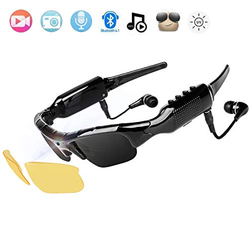 NewZexi Wearable Bluetooth Gafas de Sol 1080p Cámara Gafas Mini DV Auricular Bluetooth Manoslibres Gafas de Conducción Deporte Ciclismo Gafas de Sol con Intercambiables Lentes de Vision Nocturna