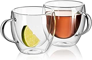 Brite Collection clear Double Wall Cup, 250 Ml hot cool drinks tea Glass coffee cup mug Thermo insulated glass heat resist...