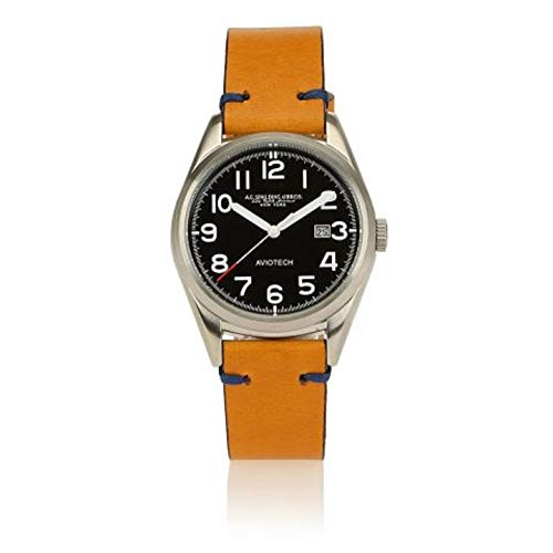 orologio A.G. Spalding&Bros New Aviotech cinturino in cuoio (Giallo)