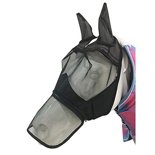 BETTERLE Fliegenmaske mit Ohren Nasenschutz Mesh Full Face Pferde Fly Mask (Vollblut(M))