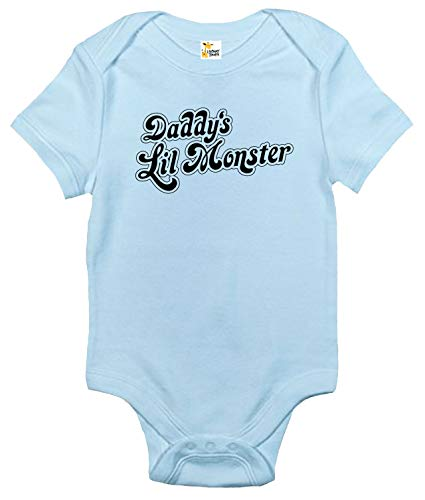 Rapunzie Daddy's Lil Monster Baby Bodysuit Cute Baby Clothes for Infant Boys and Girls (6-12 Months, Light Blue)