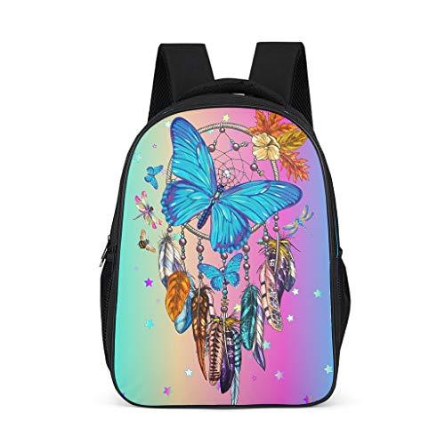 Elegante atrapasueños mariposa azul niños mochila de gran capacidad - mochila para la escuela